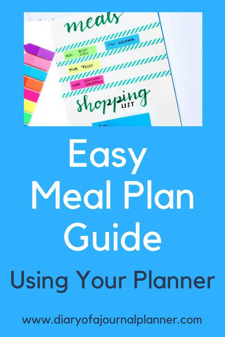 Easy meal plan guide using your planner #mealplan #bulletjournal #bujo #journaling #planning