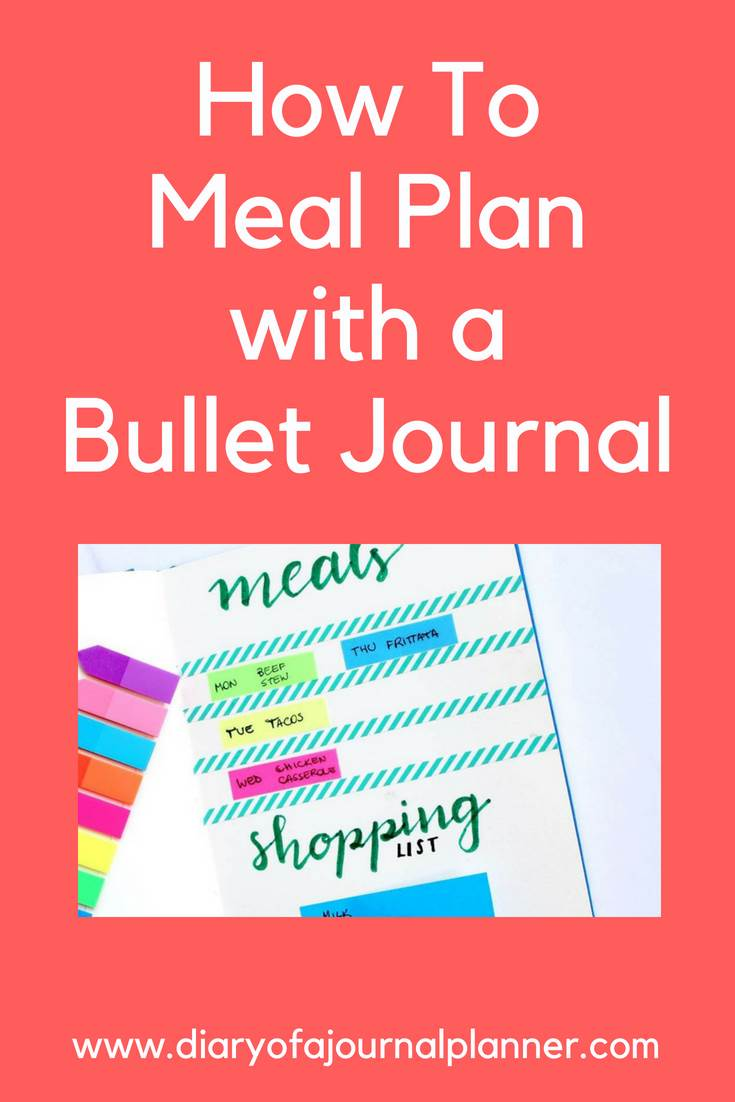 How to plan meals with a bullet journal #mealplan #bulletjournal #bujo #journaling #planning