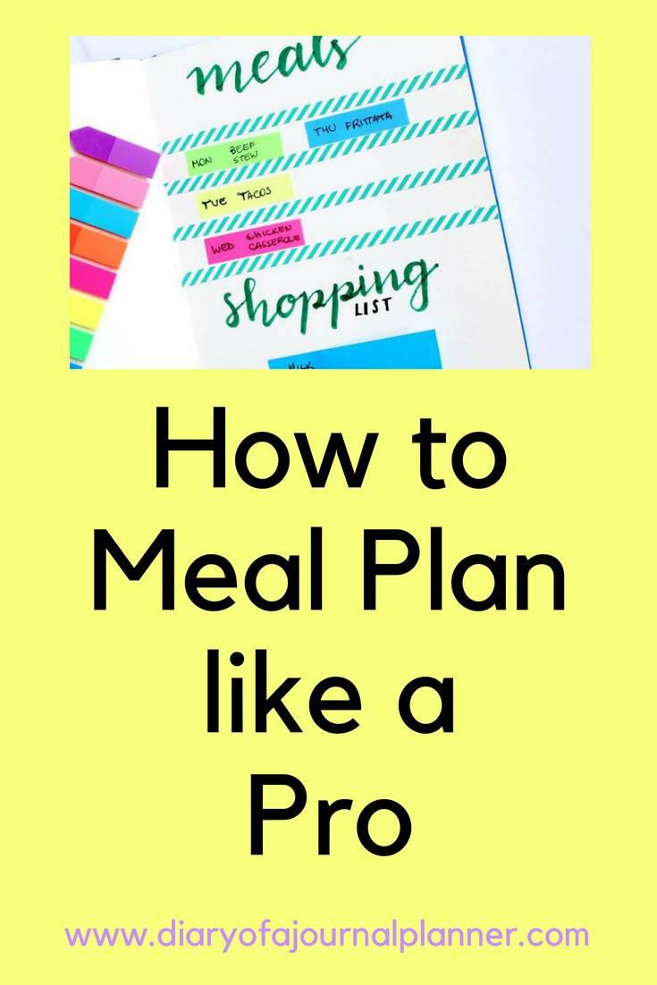 How to plan meals like a pro #mealplan #bulletjournal #bujo #journaling #planning