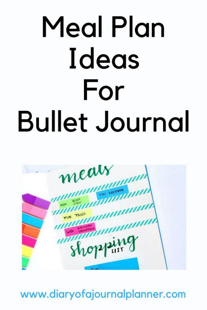 Meal plan ideas for bullet journal #mealplan #bulletjournal #bujo #journaling #planning
