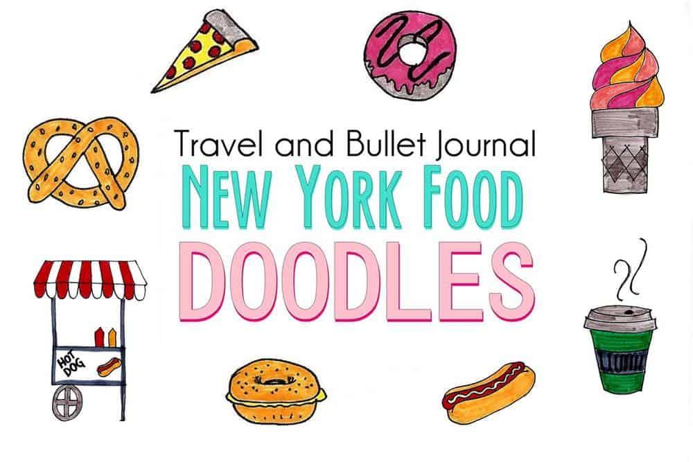 New York Food Doodles For Travel Journal