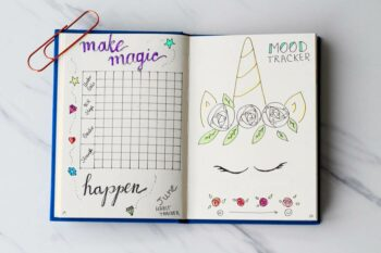 Use a bullet journal habit tracker to track your weight, mood, sleep, working time and more.