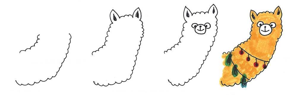 cute alpaca cartoon