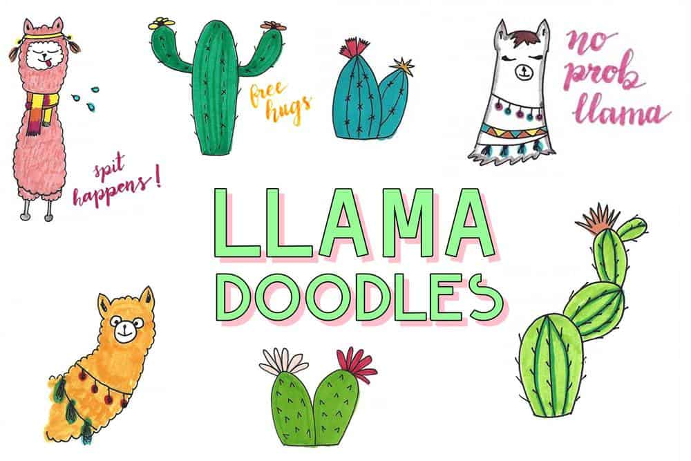 Try to make these llama doodles and alpaca drawings today