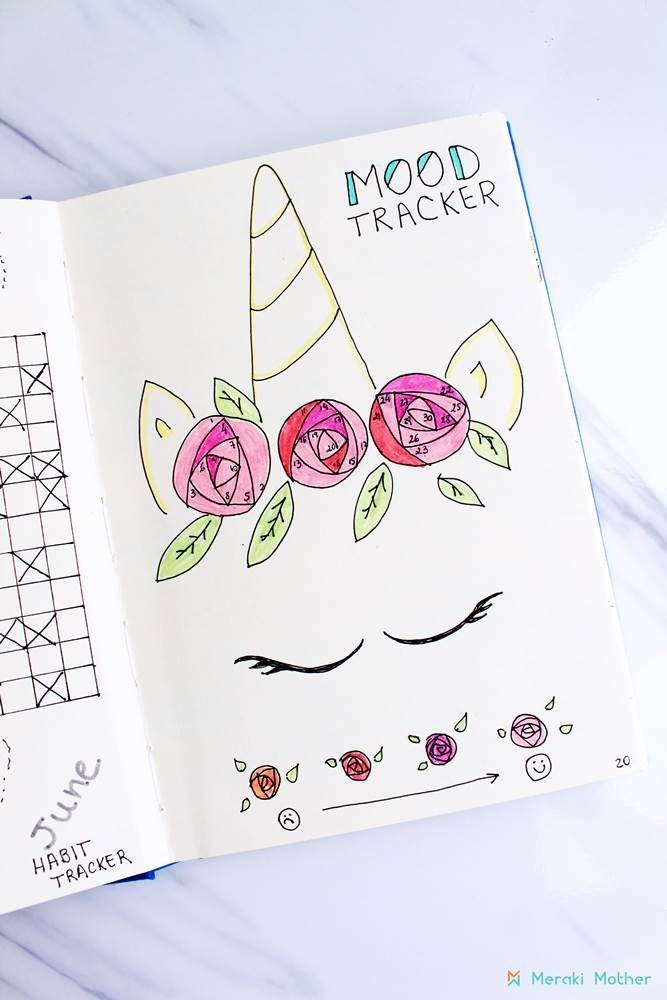 Unicorn Mood tracker #bulletjournal #bujo #habittracker #bulletjournalhabittracker