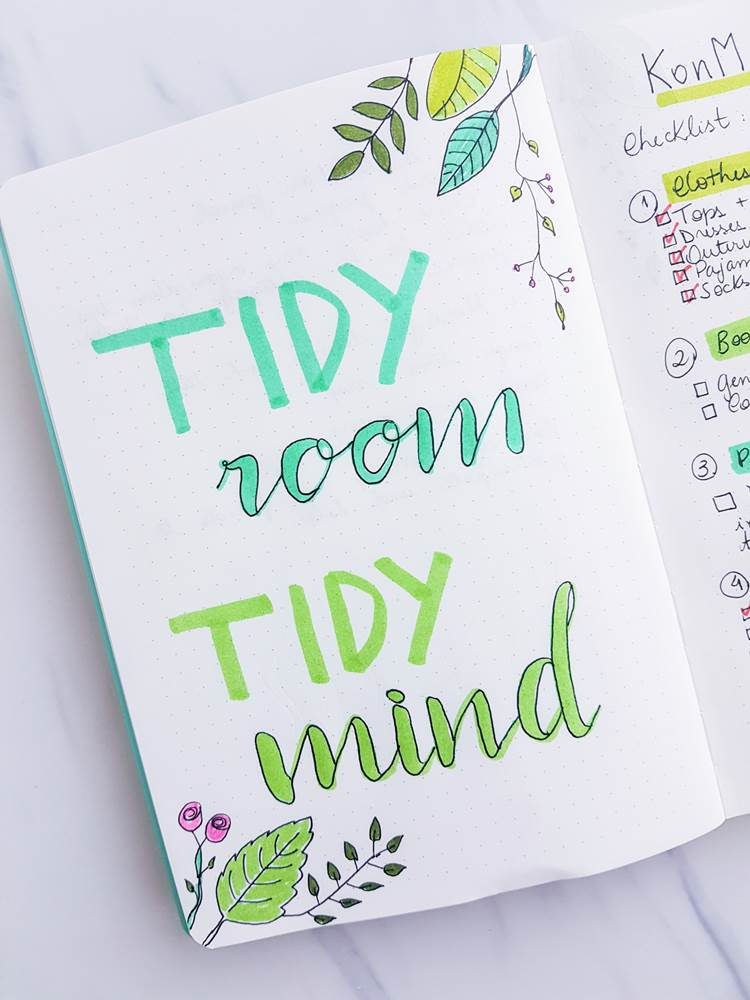 Tidy room, tidy mind. The konmari method for bullet journal