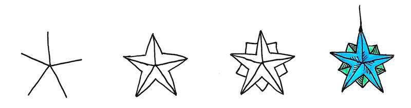 star christmas ornament doodle