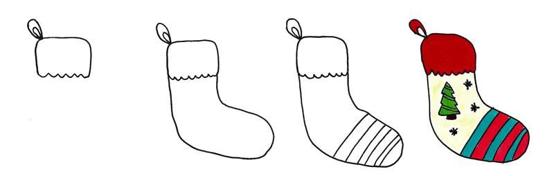 christmas stocking doodle