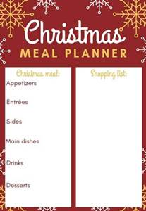 free printable christmas pages including Christmas dinner planner