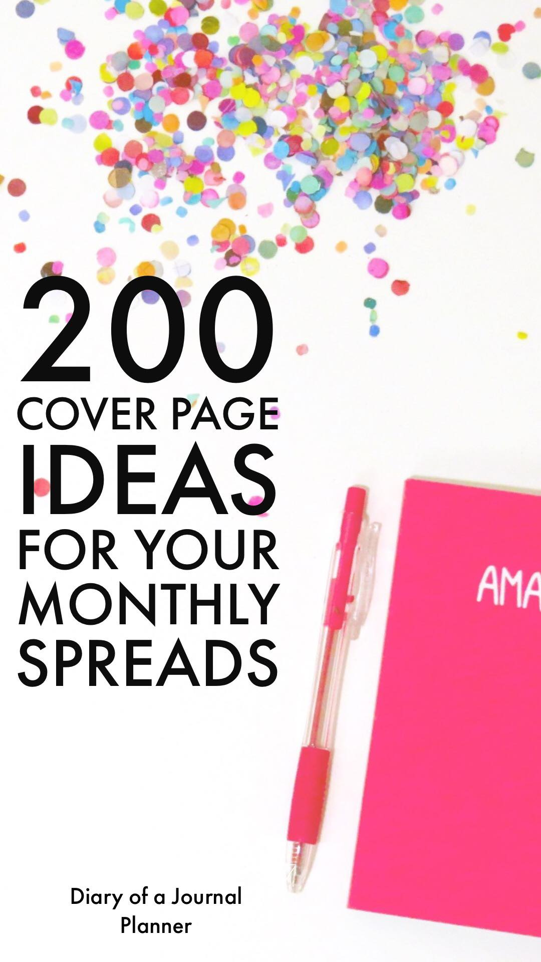 Ideas for monthly theme cover pages in Bullet Journal