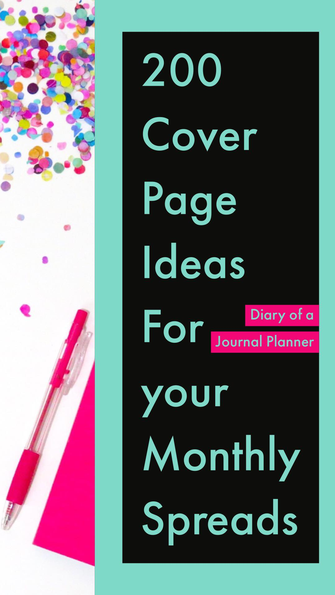 Monthly Spread cover pages for journals and planners