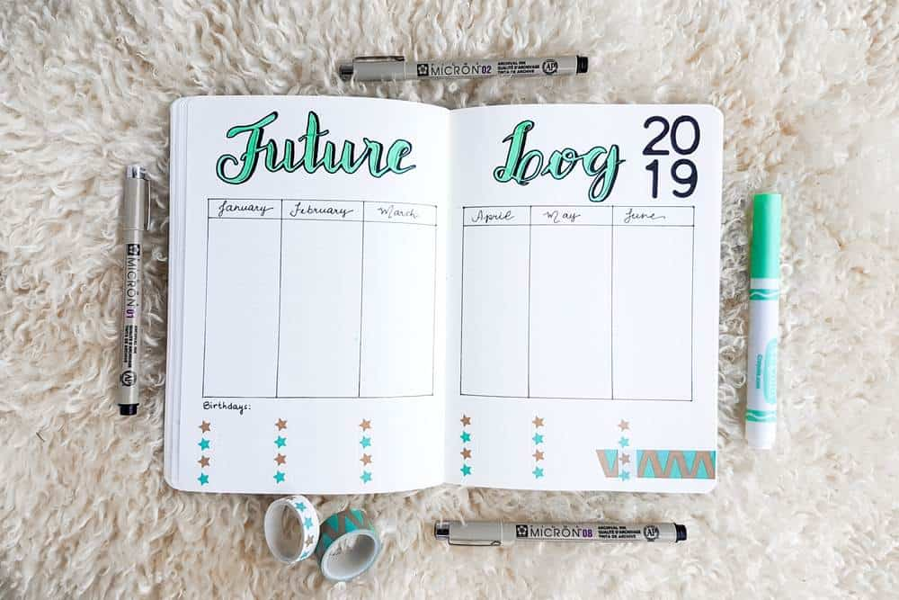 Bullet journal future log ideas