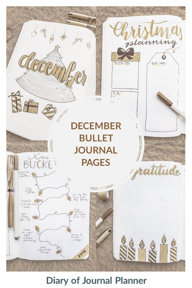 December bullet journal pages