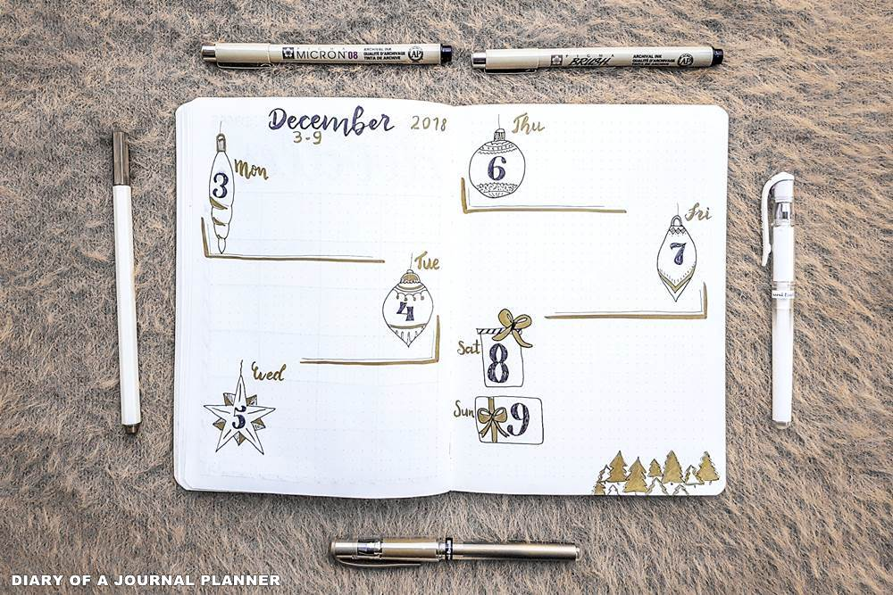 December bullet journal weekly spread