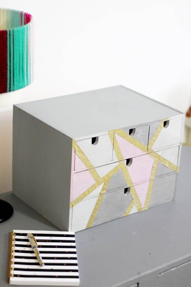 office supplies desk organizer, diy desk organiser makeover tutorial.
