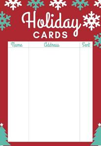 holiday cards checklist printable