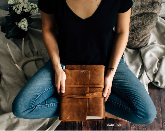 leather planner cover with initials