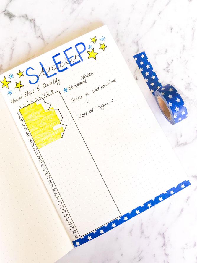 Sleep log for Bullet Journal