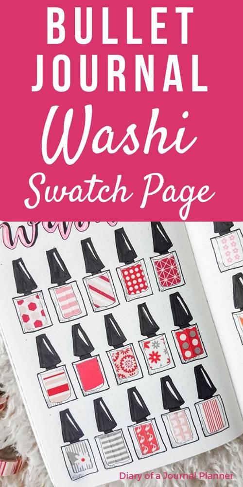bullet journal washi tape swatch spread