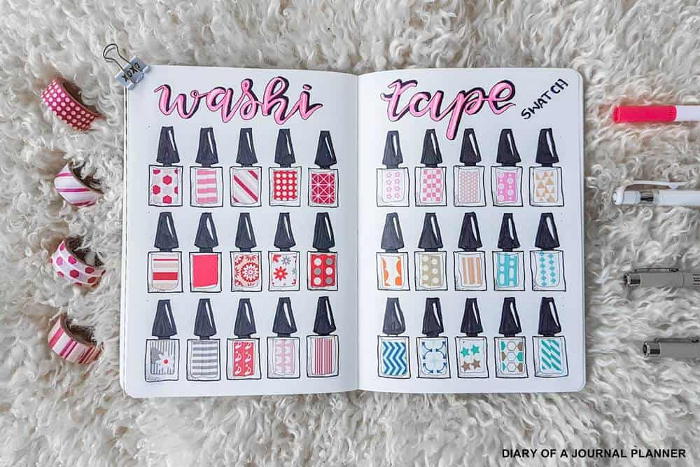 how to make a bullet journal washi tape swatch sample for your washi collection