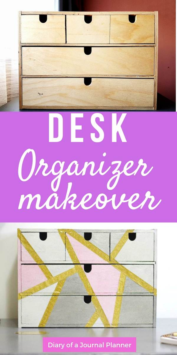 DIY desk organizer box makeover tutorial to upcycle an old supply organizer box.