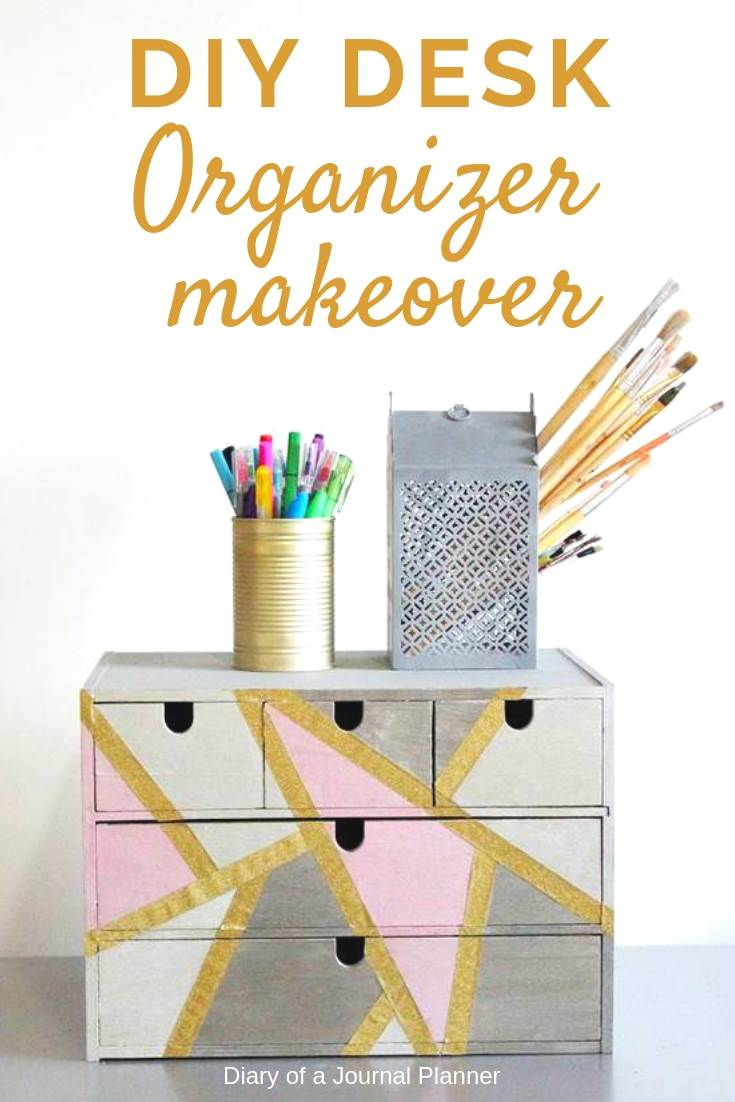 Amazing desk organizer makeover to be the storage for office supplies or craft products.