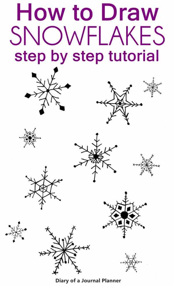 How to draw snowflake doodles step by step tutorials with a free printable to practice your winter bullet journal theme.