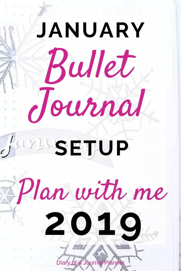 4 simple steps to setup your bullet journal for January. Weekle and monthly spread,s doodles, trackers and more