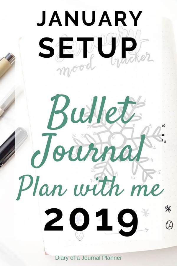 How to setup your January bullet journal pages with winter doodles theme, mood tracker, weekly and monthly calendars.