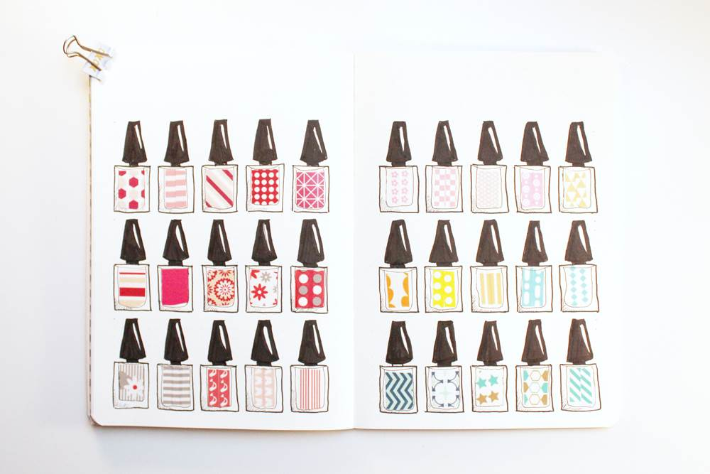 nail polish bottle washi tape swatch