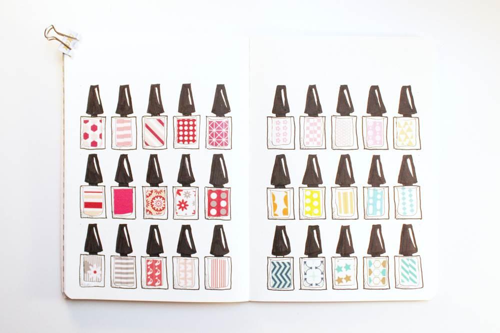 nail polish bottle washi tape swatch
