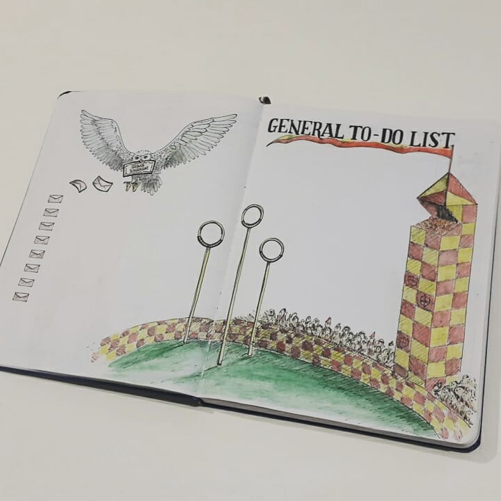 Quidditch & Hedwig themed bujo pages