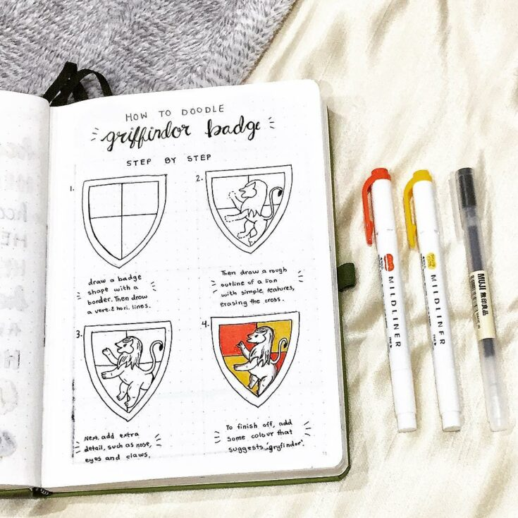 Gryffindor badge step by step bullet journal doodle