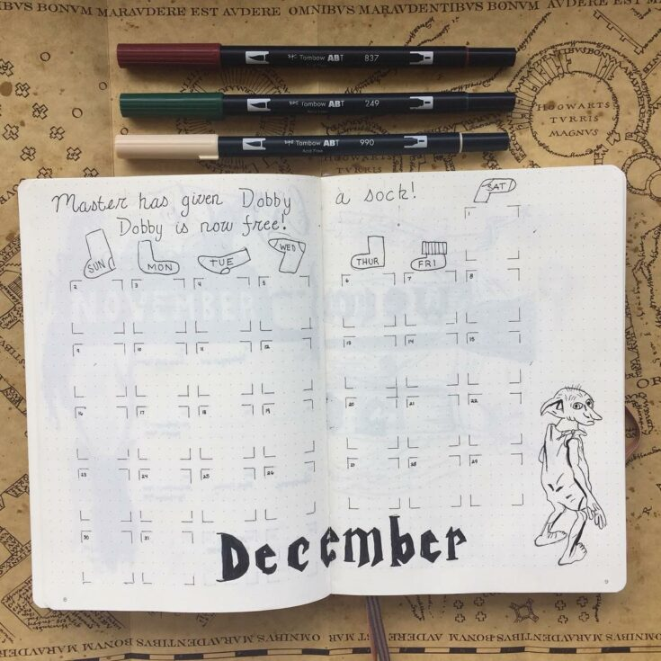 Bullet Journal Calendar inspired on Dobby