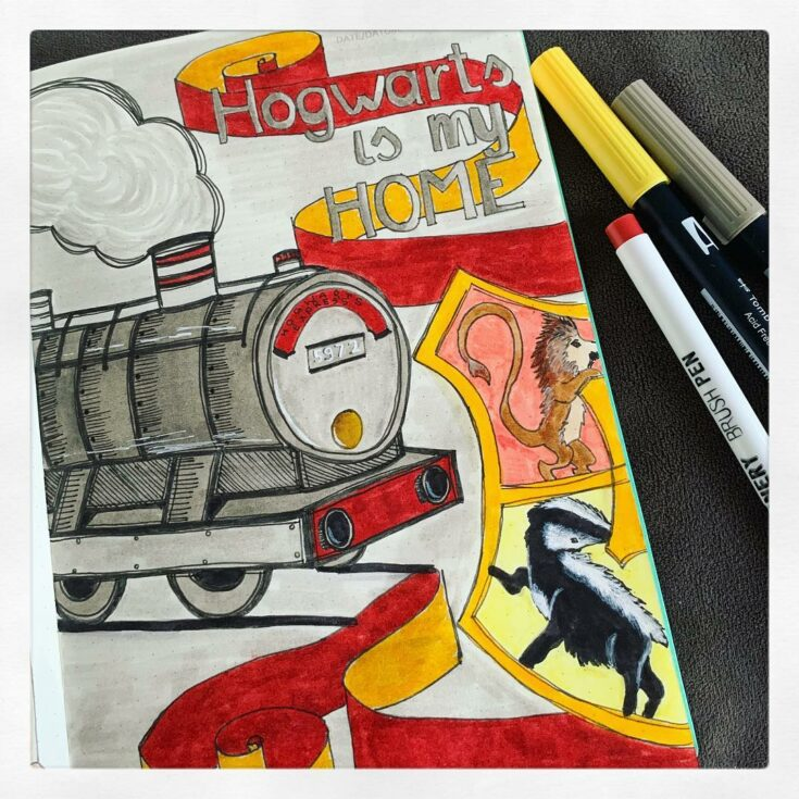"""""""Hogwarts is my home!"""" bujo cover page"""