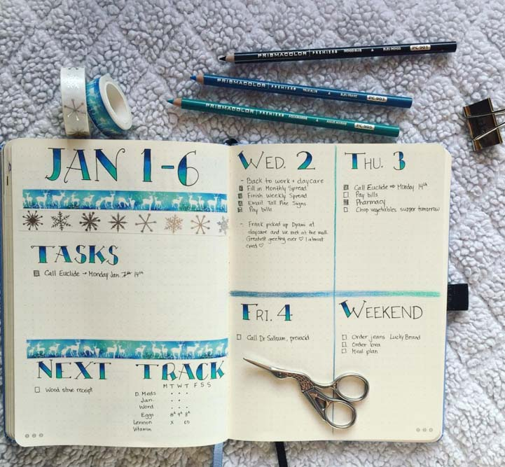 Winter theme weekly spread