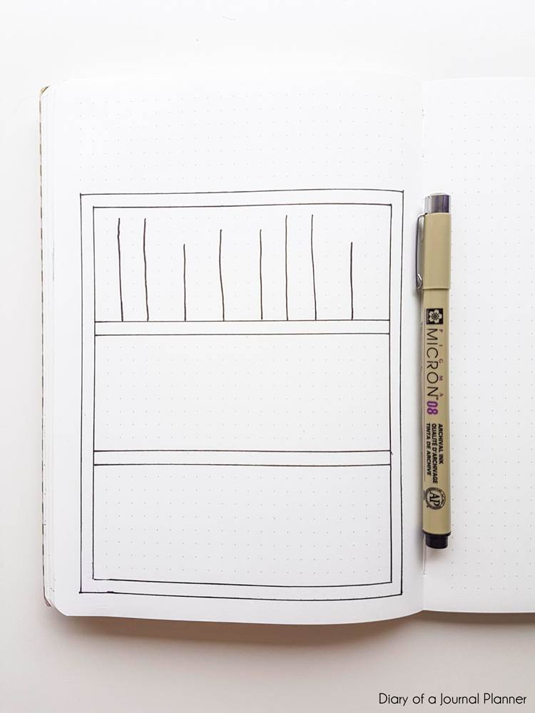 how to draw a bullet journal bookshelf