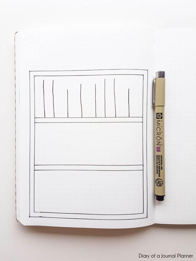 how to draw a bullet journal bookshelf