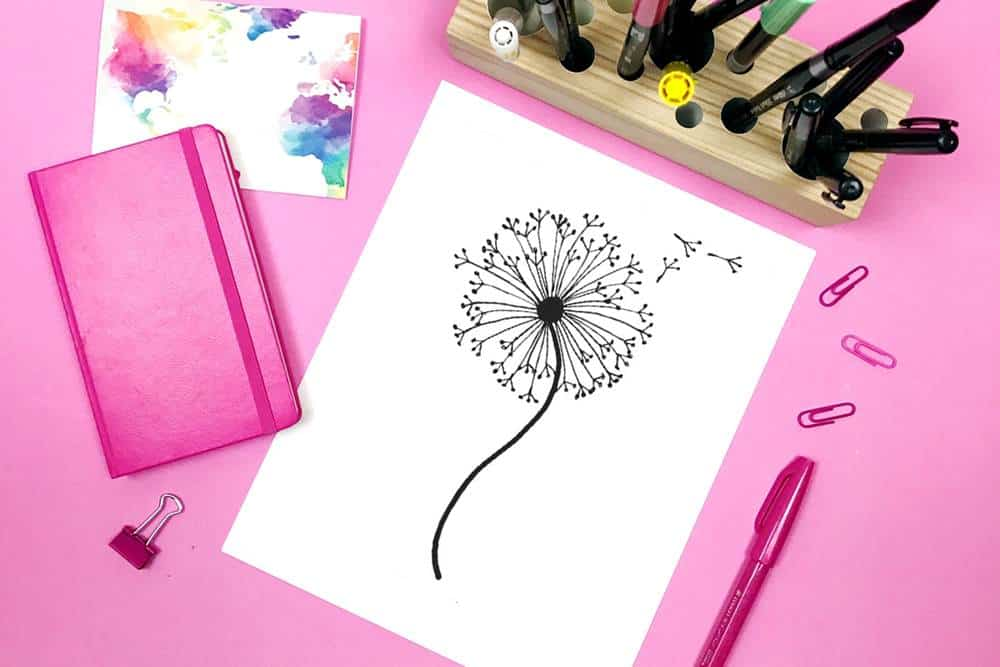 How to draw a dandelion: Easy dandelion drawing step by step tutorial
