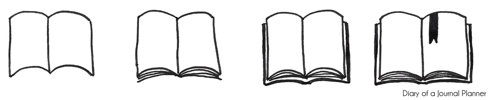 how to draw a book open