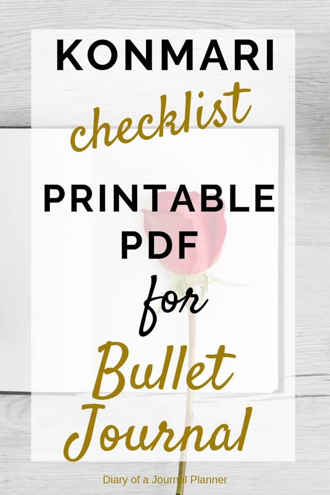 Simple Konmari checklist free printable for your bullet journal declutter and cleaning schedules spreads. Find how to use your bujo with the life changing magic of tidying up book. Check lists for home, closet, clothing, komono, house products and more