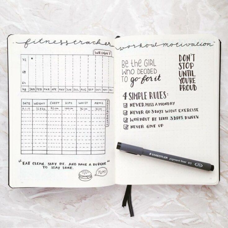 Bullet Journal Fitness Tracker Layout