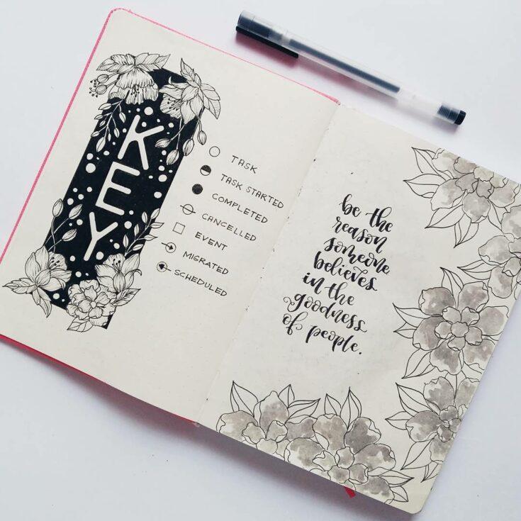 Floral Bullet Journal Key