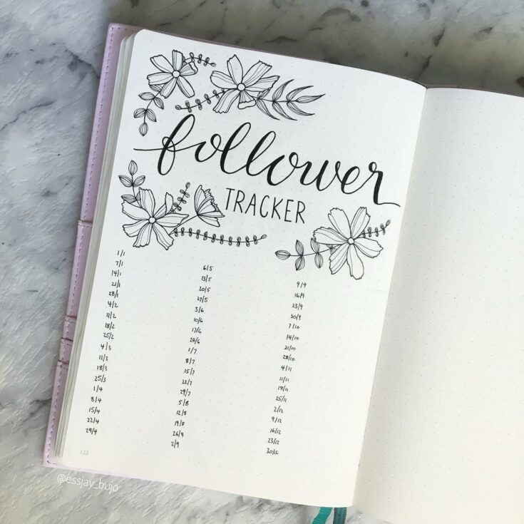 Floral Theme Bullet Journal Tracker