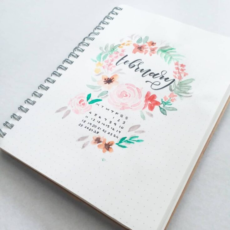 Floral Bullet Journal Calendar
