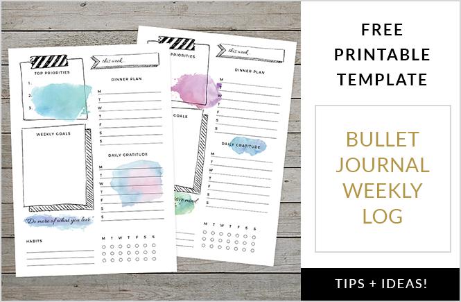 Bullet Journal Weekly Log Free Template