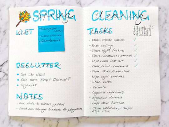 Cleaning Schedule Bullet Journal