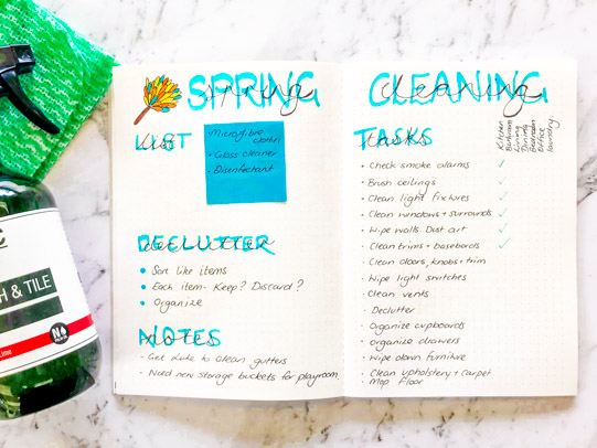 Bullet Journal Spring Cleaning Layout