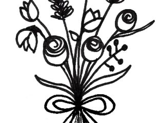 Flower bouquet drawing - simple step by step bunch of flower drawing tutorial