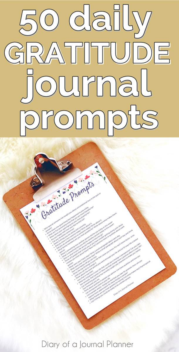 Gratitude prompts for journals